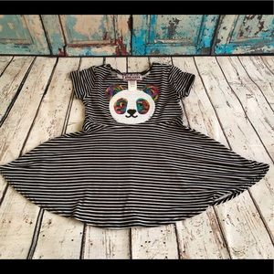 Other - Adorable Sequin Panda Striped Dress NWOT